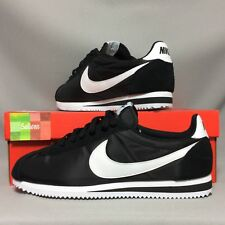 Nike Cortez clásica de nylon UK10 807472-011 EUR45 US11 Negro Blanco Gamuza básica