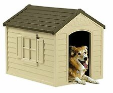 Dog Houses For Medium Or Large Pet Includes Vinyl Door And Crowned Floor Outdoor