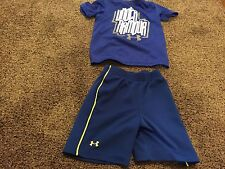 Boys 2T Under Armour Shorts Shirt Lot Outfit Blue 100% Polyester Rare