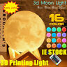 3D Printing LED Touch Moon Light 16 Colour Remote Control Night Lamp Decor Gift~