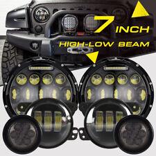 "7"" CREE LED Headlight Fog Light Halo DRL Signal Turn For Jeep Wrangler JK 07-17"