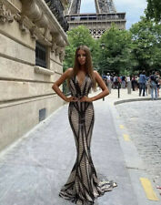 Mermaid Sparkling Nude Sequin Backless Gown Evening Prom Occasion Long Dress