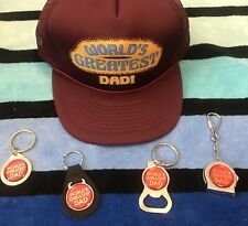 NOS Free Key Chain w/ Vtg WORLDS GREATEST DAD Trucker Mesh/Foam Snapback Hat