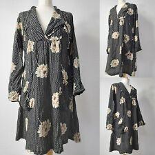 MASAI CLOTHING COMPANY Black Beige Floral Flower Smocked Aline Tunic Dress M