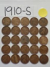1910-S SOLID DATE 25 PENNIES= HALF ROLL OF LINCOLN WHEAT CENTS