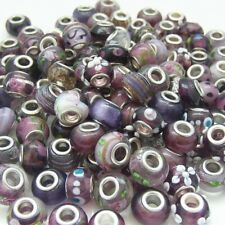 BULK x10 Mixed Perfectly Purple Lampwork Glass Beads fit European Charm Bracelet