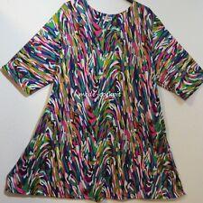 LA BASS tolle Oversize Tunika Stretch Kleid + Taschen multicolor 50-52-54 (2)