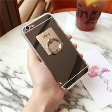 Luxury Chrome Acrylic Mirror Case Cover for Cell Phones with Ring Holder Stand