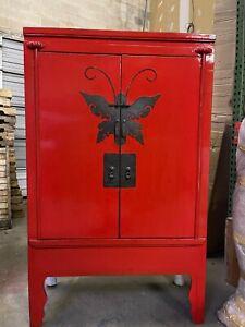 oriental antique red armoire wardrobe cabinet furniture