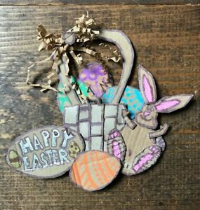 Handmade Easter Decoration-Home Decor-Upcycled-Painted Eggs-Basket-Bunny-Bow-DIY