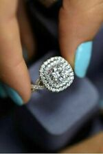 Ring For Women In 925 Silver Halo 3.00Ct Round White Stone Double Anniversary