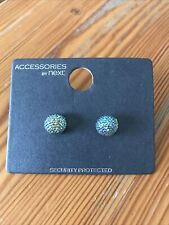 Next Brand, New On Card Pair Blue Sparkly Ball Earrings,