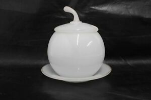 White Frosted Glass Round Cherry Shape Vintage Sugar Bowl Dish & Saucer Set