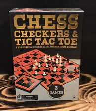 3 Game Pack Chess Checkers & Tic-Tac-Toe Tin - Full Size Game Board - Pre Owned