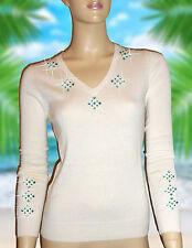 Luxe Oh 'dor ® 100% Cashmere Pull Miami Luxe White Emerald Emeraude 48 XL