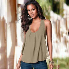 Plus Size Women Summer Chiffon Tank Top T-shirt Ladies Casual Loose Tops Blouse