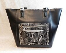 VERA BRADLEY ELLA TOTE BLACK LARGE FAUX LEATHER SNAKESKIN