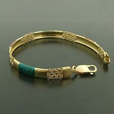 18ct Yellow gold Bracelet with red and green enamel features