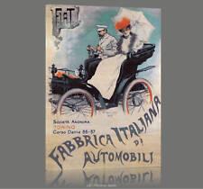Fiat 1899 QUADRO STAMPA TELA MANIFESTO EPOCA AUTOMOBILE ARREDO CASA UFFICIO