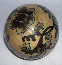 """4"""" Ceramic Porcelain Decorative Sphere Med Brown Crazed Background Flower Motif"""
