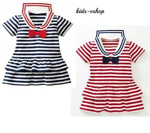 BABY GIRL TODDLER SAILOR SUMMER DRESS NAVY RED STRIPES PARTY HOLIDAY 12M-6Y