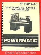"""POWERMATICLogan 12"""" Metal Lathe Parts Manual 0561"""