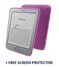 Púrpura Tpu Gel Silicona piel funda para Amazon Kindle 4 + Protector De Pantalla