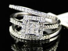 14K Womens White Gold Diamond 3 Ring Engagement Wedding Band Bridal Trio Set