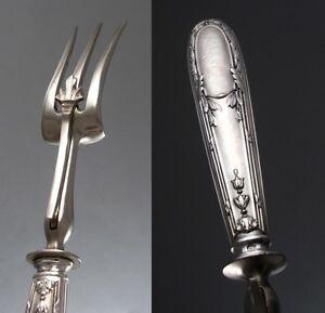 Antique French Sterling Silver Serving Fork, Hallmark, Minerve 1, Pierre Bezon