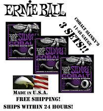 ** 3-PACK ERNIE BALL COBALT POWER SLINKY ELECTRIC GUITAR STRINGS 11-48 **