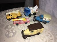 5 x VINTAGE DIECAST CAR MODEL VEHICLES MATCHBOX CORGI LEDO MATTEL