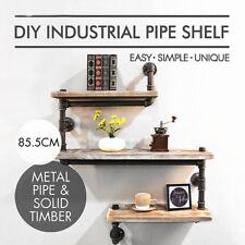 3 Tier Industrial Pipe Wall Shelf Rustic Bookcase Storage Wood Shelving DIY Rack