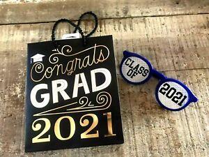 2021 Graduation Gift Bag small black gold free glasses fun set graduate new blue