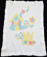 Vintage Waffle Weave Baby Security Blanket Bunny Rabbits Nylon Edge Lovey White