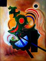 Wassily Kandinsky Solid Green Repro, 100% Hand Painted Oil Painting, 30x40in
