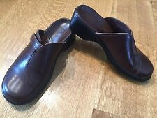 Clarks Brown Leather Mule Clogs Shoes Womens Size 5