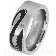 Unisex Modeschmuck-Ringe im Band-Stil aus Edelstahl mit Kristall