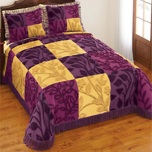 Purple Gold Bedspread Queen Patchwork with Fringe Chenille Leaf Design 118x102in