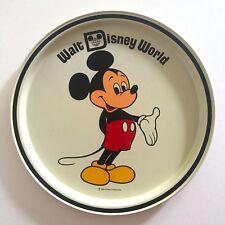 Vintage Mid Century Mickey Mouse Walt Disney World Tin Enamel Round Serving Tray