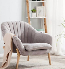 Grey Shell Chair Chair with Wooden Legs