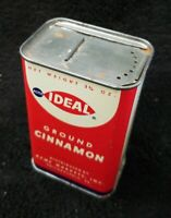 """Vintage ACME IDEAL Ground Cinnamon Spice Tin Can 4"""" Movie Prop Advertisement"""