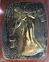 Wood Copper Vtg Picture Medieval Maiden Girl Water Bearer Scandinavia Norway