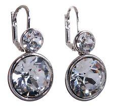 Swarovski Elements Crystal Brilliance Round Drop Pierced Earrings Rhodium 7261z