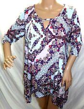 2B Together Women Plus Size 1x 2x 3x Long Asym Tunic Top Blouse Shirt Purple