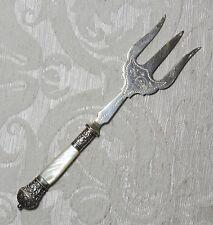 Silver Plate Victorian Bread Fork Mother of Pearl & Sheffield Forchetta da pane