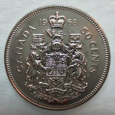 1968 Canada 50 Cents Uncirculated Coins, Canadian Half Dollar 50c Fifty Cents.