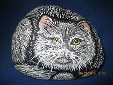 Original Hand Painted Gray & White Cat Pet Stone ~ Signed D. Mills '97