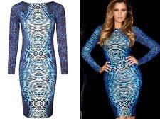 KARDASHIAN KOLLECTION for LIPSY blue animal print bodycon party dress size 10 38