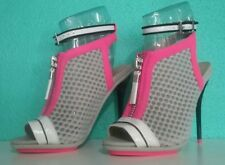 NEW GWEN STEFANI Size 6 Hot Pink Grey Mesh Ankle Strap PeepToe Bootie High Heels