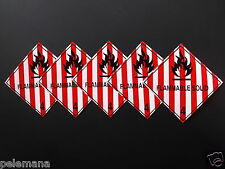 """5 -Five labels FLAMMABLE SOLID Red/White 4"""" x 4"""" Self Adhesive Paper Sticker NEW"""